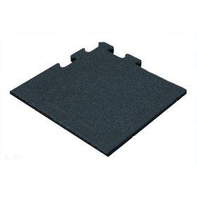 Rubber tegel 25 mm - 50 x 50 cm - Zwart - Puzzelsysteem - Hoekstuk