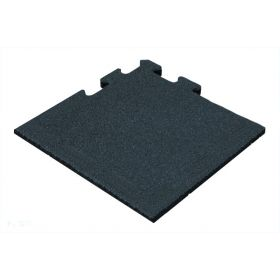 Rubber tegel 50 mm - 50 x 50 cm - Zwart - Puzzelsysteem - Hoekstuk