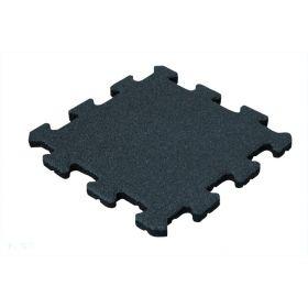 Rubber tegel 25 mm - 50 x 50 cm - Zwart - Puzzelsysteem - Middenstuk