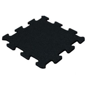 Rubber puzzel tegel 15 mm - 50 x 50 cm - Zwart - Fijn granulaat