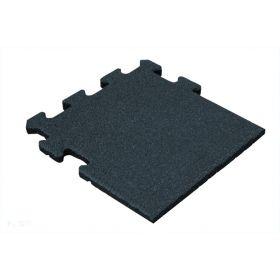Rubber tegel 25 mm - 50 x 50 cm - Zwart - Puzzelsysteem - Zijstuk